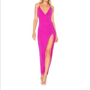 NBD Andela Pink Ruching Slit Gown Dress XXS